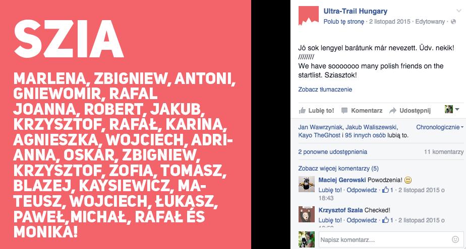 Tak przywitali nas Organizatorzy na Facebooku, jak miło!