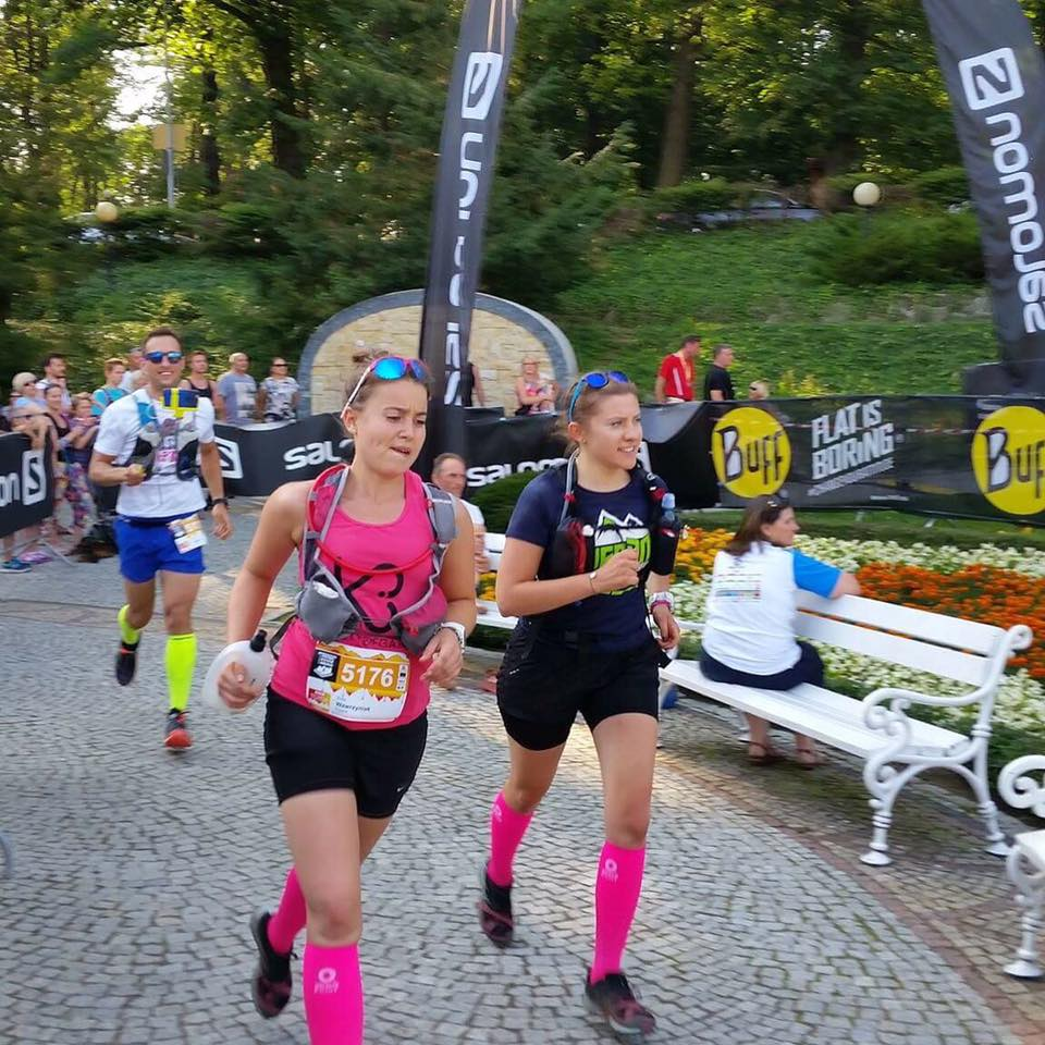Na finiszu Złotego Maratonu (45 km), który pokonaliśmy wspólnie w sobotę.